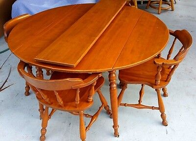 Vtg 1958 Ethan Allen Baumritter Folding Dining Table + 4 Windsor Chairs Vermont