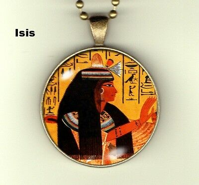 """Egyptian Mysteries photo pendant: Isis -  30mm 24"""" chain"""