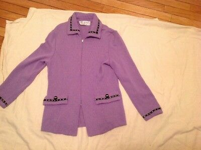 St. John Collection By Marie Gray Zip Up Sweater Jacket Lavender
