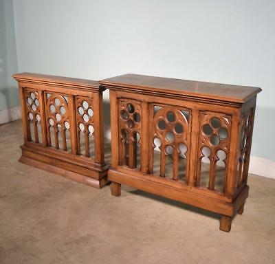 *Vintage French Oak Wood Neo Gothic Church Altar and Railing Salvage