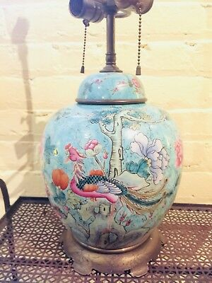 Large Antique Chinese Famille Rose Ginger Jar Lamp Brass Stand Roosters Peonies