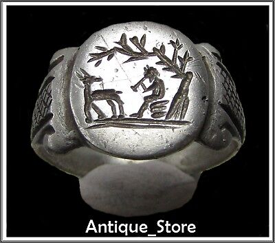 ** SATYR and GOAT  **Ancient Silver Roman  Ring **AMAZING **