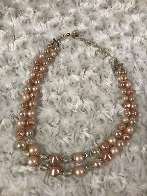 Stunning Vintage Estate Signed Japan Faux Pearl Two Strand Necklace