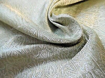 "TINY MEDALLION PRINT JACQUARD SILK BROCADE~SOFT GREEN/GOLD/PEARL~9""x22"""