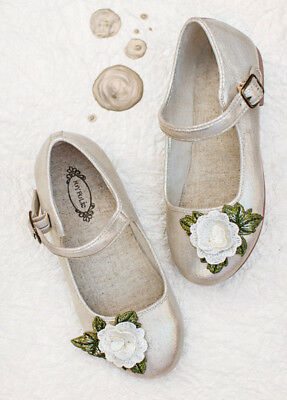 4ff239157b86 New Joyfolie Lola Mary Jane in Gold Flower Shoes 2 Youth Flats Party Holiday