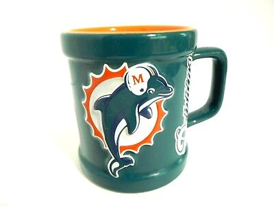 Vintage MIAMI DOLPHINS Ceramic Coffee Mug 1999 Officially Licensed NFL