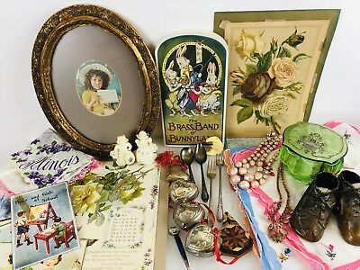 Junk Drawer Lot Old Glass Dresser Jar Baby Shoes Hankies Ornaments Baby Spoons