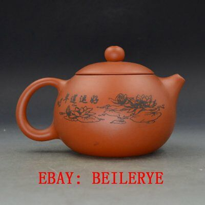 Chinese Yixing Zisha Hand Carved Painting Lotus Teapot Made By Zhou Zhichen BY48