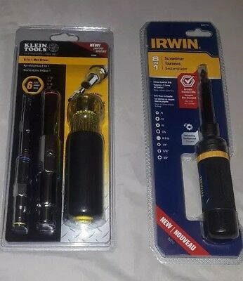 Klein Tools 6-in-1 Heavy-Duty Nut Driver and Irwin 8 in 1 Screwdriver set new
