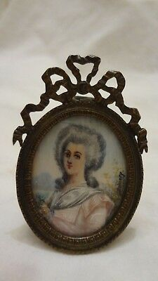 Antique Miniature Hand Painted Portrait Elegant Lady Signed Ornate Bronze Frame