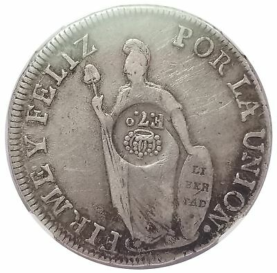 Philippines 1834 Silver 8 Reales on Peru 1833 Lima 8R KM 84 VF 25 NGC 1116-3