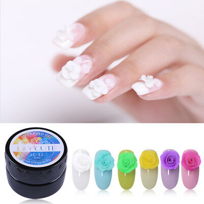 LILYCUTE 3D Nail Art Carved Gel Carving Painting Acrylic UV Tips Design 5ml
