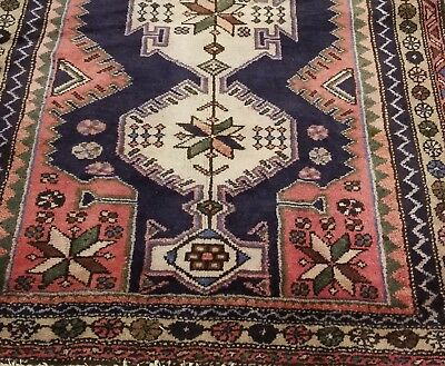 Antique Rug 3x5, Navy and Pink