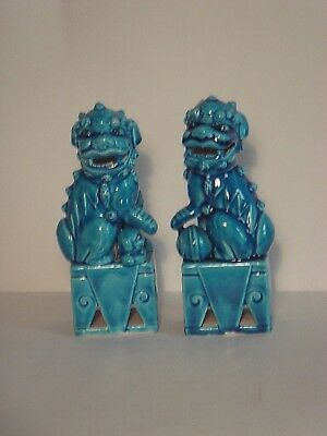Pair of Vintage Turquoise Foo Dogs Made in Japan - 6.5 Inches Tall