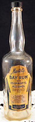 Antique Martel's Bay Rum with Isopropyl Alcohol Neat Old Glass Bottle