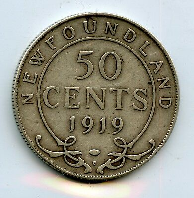 Weeda Newfoundland 1919 50 cent silver coin, see scans