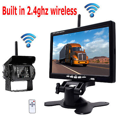 """Built-in Wireless Rear View Truck Trailer RV Bus System 7"""" Monitor Backup Camera"""