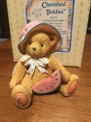 """New 1993 Cherished Teddies """"a Day In The Park"""" July Bear  #914819"""