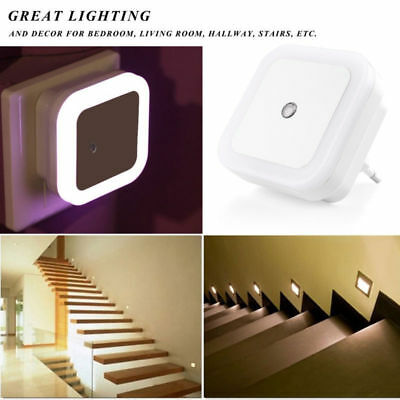 Plug In LED Night Light Wall Lamp With Dusk To Dawn Auto Light Sensor White 0.5W