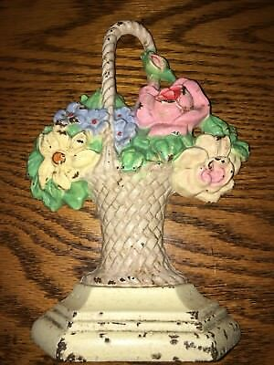 Antique Hubley Cast Iron Roses And Daisies Basket Door Stop #152