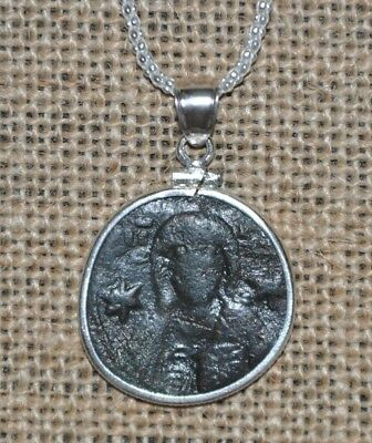Authentic Roman Empire Michael VII Ducas Jesus Christ Coin 925 Sterling Necklace