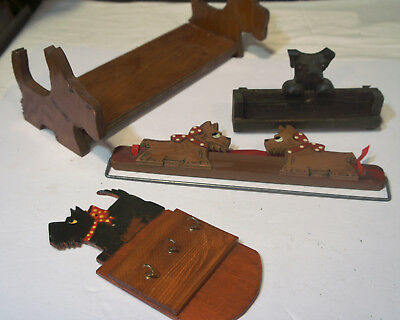 Lot of Assorted Vintage Wooden Scottie Dog Objects