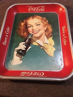 1948 COCA COLA Red Hair Girl Serving Tray ORIGINAL Authentic Antique 1950's Coke