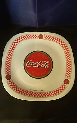 Plastic Coca Cola plate red and white color used collectible Gibson