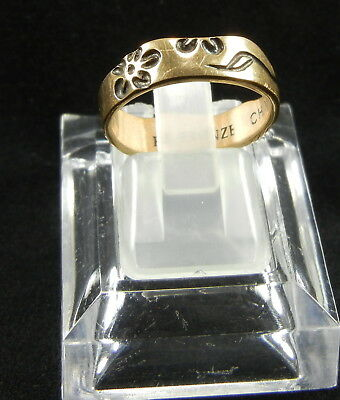Bronze Ring Ornate Floral Size 6 1/2 3gms Very Pretty!