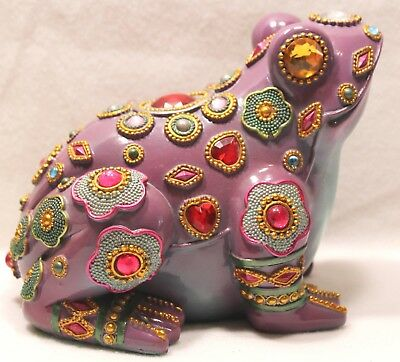 Frog with Jewels Figurine Statue Purple Whimsical Bohemian