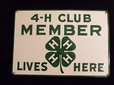 """Vintage """"4H Club Sign Member Lives Here"""" Rural Country Farm Embossed Metal Sign"""