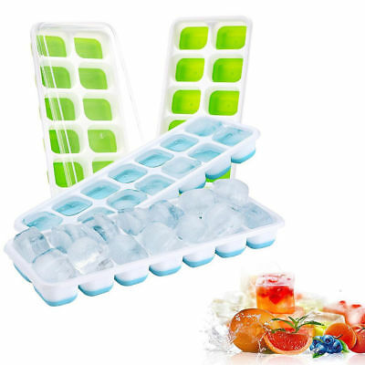 14Hole Silicone Ice Cube Mold Tray with Rectangle ShapeD Ice Jelly Mould Lid New
