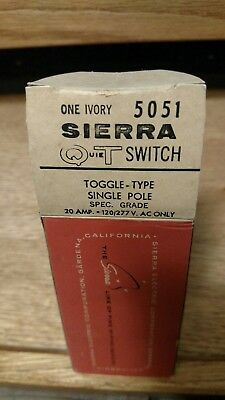 Vintage Bakelite NOS Sierra Quiet Switch Ivory 5051 Single Pole