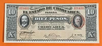 """1914 $10 LARGE SIZE Currency Mexico """"GOLD"""" """"HORSEBLANKET"""" Choice Uncirculated!"""