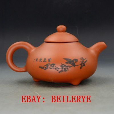 Chinese Yixing Zisha Hand Carved Painting Birds Teapot Made By Zhou Zhichen BY41