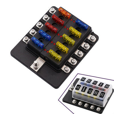 10 Way Circuit Blade Fuse Box Holder with LED Indicator Light 32V Terminals Kit