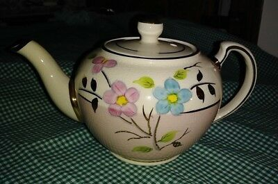 Antique English China Teapot Pink White Gold Hand Painted Blue & Pink Flowers EX