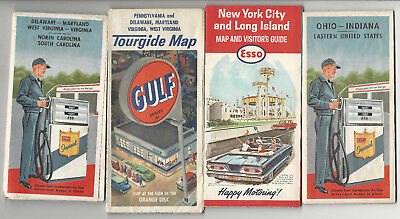 4-4-1 1960s Vintage Road Maps Esso Atlantic Gulf New York NY World's Fair OH PA