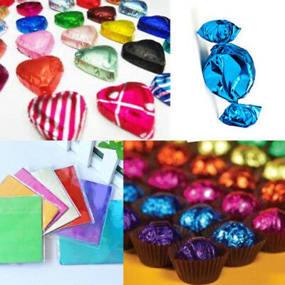 100Pcs Square Pure Color Aluminum Foil Wrapping Chocolate Candy Package Paper