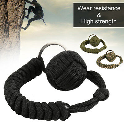 1Pcs Monkey Fist Keychain Paracord Self Protect Military Steel Ball New
