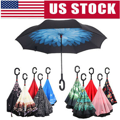 C Handle Umbrella SelfStand Windproof Upside-down Umbrella Double Layer Umbrella