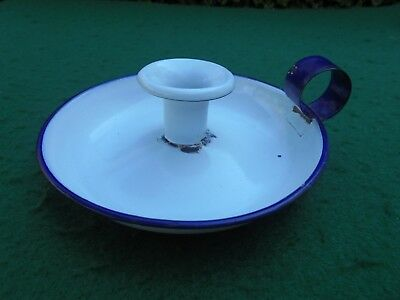 ANTIQUE ENAMEL WHITE & BLUE WEE WILLIE WINKIE CANDLE STICK HOLDER c1920's