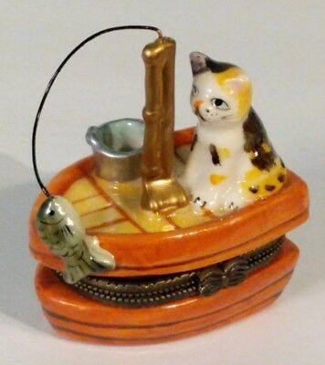 Cat on Boat Fishing Ceramic Clasp Trinket Box ~ One Fish Hooked and One Inside!