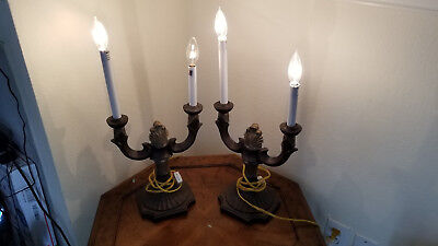 2) Pair of Vintage Two-Arm Resin Candelabra Table Lamps Two Candelabras Electric