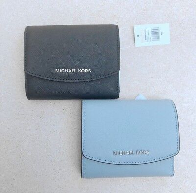 1d09ca4256a8 BNWT RRP 159 MICHAEL KORS Small Leather Trifold Wallet Clutch Purse Black  Blue