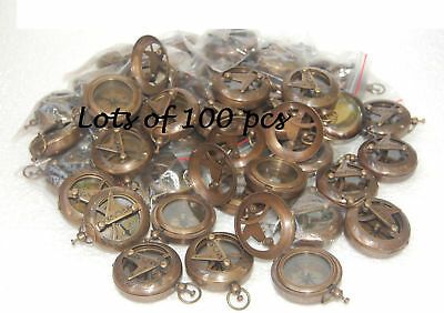 Lots of 100 pcs Brass Antique sundial Push button Compass Engraved Compass Poem