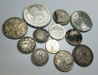 Mixed 12 Coin Lot of All Silver Foreign Coins about 1.30 oz asw