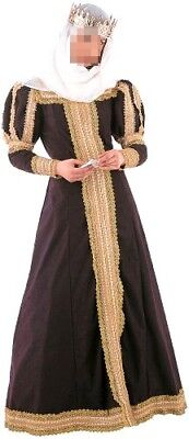 Womens Black Medieval Queen England Princess Royal Fancy Dress Costume