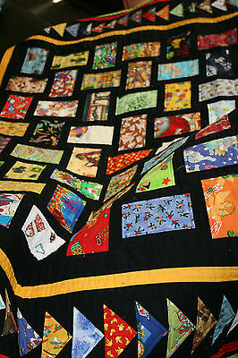 "Hand Made Quilt ""WITH MY LITTLE EYE"" Design by Quilt-Addicts 51"" x 43"" Cot size"