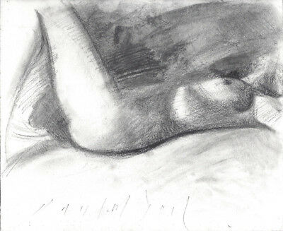 FEMALE NUDE Laying Figure Realistic Sketch Original Charcoal Drawing from Life